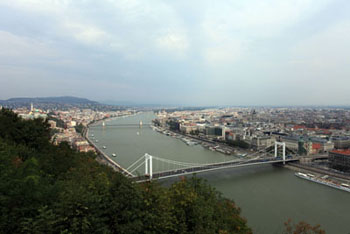 View of the Danube and Erzsebet Bridge in Budapest