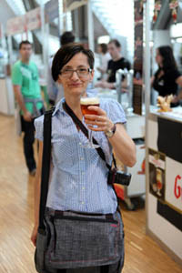 me on the festival with a glass of draught Belgian beer