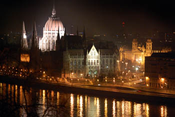 the Parliament at the Danube bank illuminated on a winter night