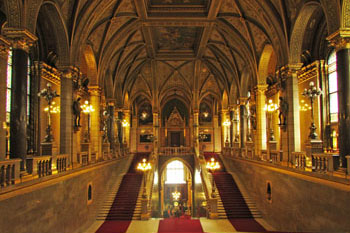 The main staircas eof the Hungarian Parliament with red carpet