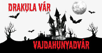 a black poster of the event: a cartoon castle with black bats