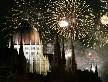 The dome of the Parliament showered in sparks of fireworks