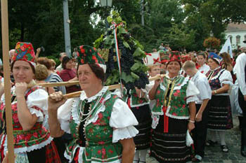 women in in folk costume on the Harvest Parade