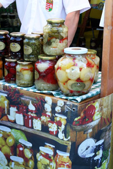 pickled veggie sin various size of bottles on the Street of Hungarian Flavours Fest