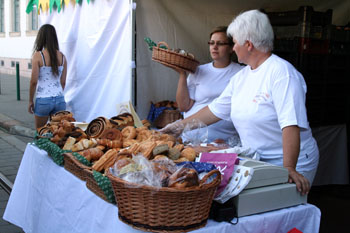 chocolate snails and other pastries in woven baskets on the Street of Hungarian Flavors fest