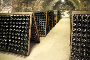 champagnes stored in the cellar of Törley champagne factory