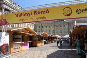 villanyi korzo/promenade written on a yellow banner