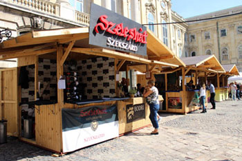 Szeleshat written on red on the wine estate's booth