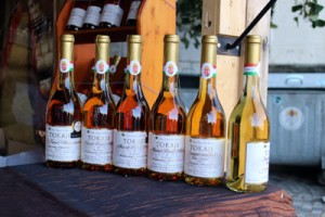 6 bottles of Tokaji aszu wines at one of the pavilions