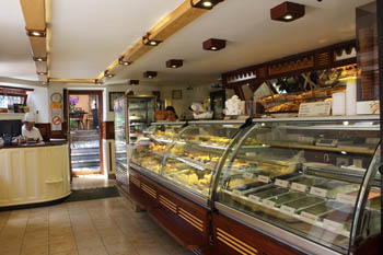 the huge cake counter in Auguszt cafe
