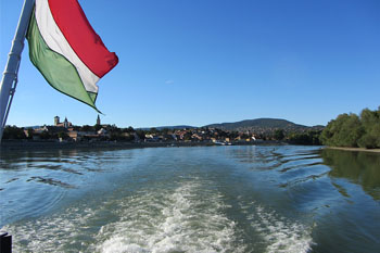 on a boat on the Danube
