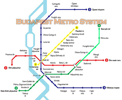 Budapest Subway Map English.Budapest Metro System The Four Subway Lines In Budapest