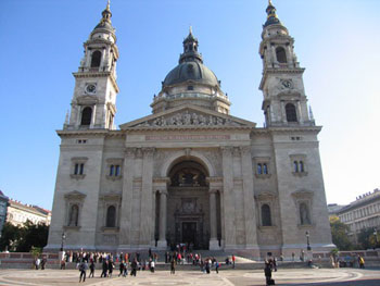 St Stephen's Basilica front view on a summer day