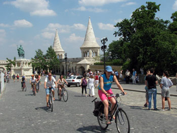 bikers on a tour at Fishermen's bastion
