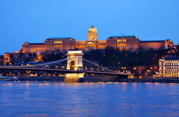 Buda Castle and the Buda end of the Chain bridge at the blue hour