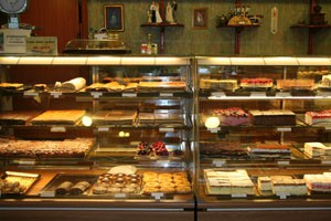 cake counter in Daubner cake shop