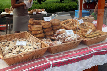 artsian bakery goods at a local market