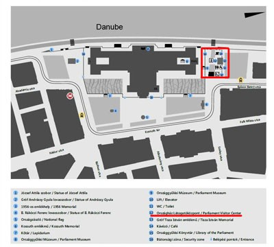 map of Kossuth square and the Parliament