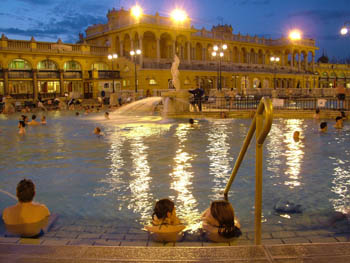 outdoor pools in Szechenyi Baths in winter