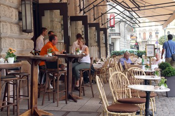 the cafe terrace with some people