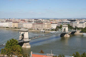 aerial view of the Chain bridge spanning the Danube