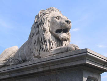 a stone lion head
