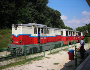 the white blue and red Children's Railway train in the Buda Hills