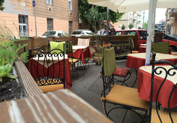 the Patio of Due Fratelli Restaurant