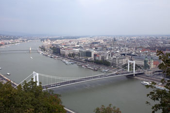 the white Erzsebet Bridge from the top of Gellert Hill