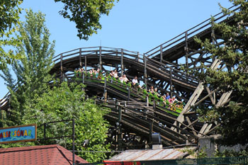 the historic wooden roller coaster in Mese Park