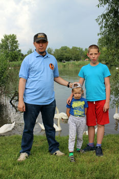 my husband and 2 sons at the Small danube in Csepel