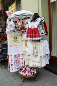 folklore costumes and textiles on the street