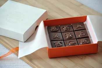 chocolate in an orange paper box