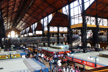 the vast interior of the Great market Hall from the upper floor