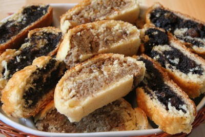 slices of walnut and poppy seed beigli