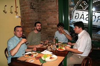 eating hungarian dishes in a restaurant