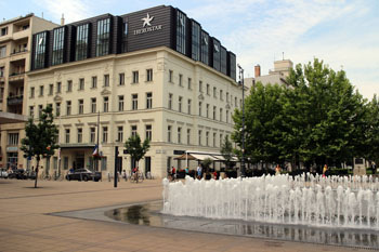 Iberostar Grand Hotel Budapest street view with the fountain on Szabadsag sqr.