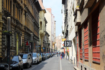 a street in the Jewish district of Budapest