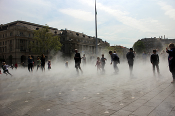 the vapour spray on Kossuth Square in spring