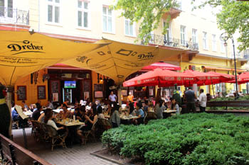 tented terrace cafes on the square