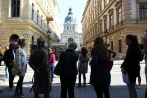 on a walk tour in downtown Budapest