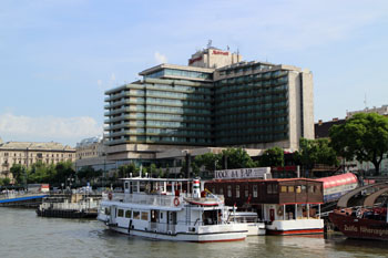 the Marriott Budapest from a boat on the Danube