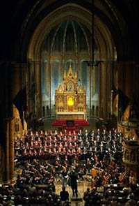 the main altar of the church, a symphony concert in front of it
