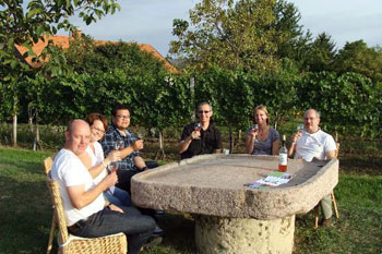 six people sitting around a stone table at a vineyard in Etyek