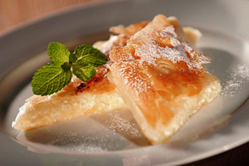 strudel pastry with plum filling