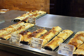 A variety of strudels in the counter of First Strudel House of Pest