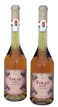 two 0.5 litre bottles of Tokaj aszú wine