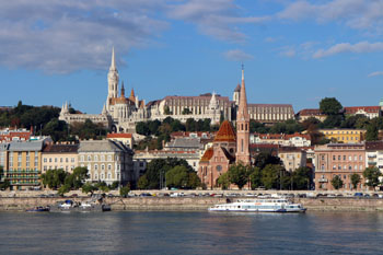 view of Matthias Church, the Fishermen's Bastion and the Hilton from Pest