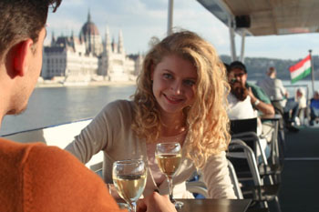 sipping wine on a boat tour