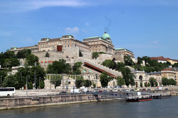 Varkert Bazaar and the Royal Palace from a boat on the Danube